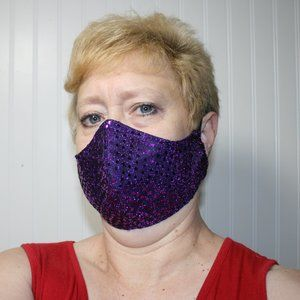 HANDMADE Purple Sequin Fabric Face Mask Shield